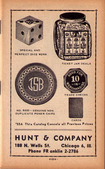 Hunt & Company 1955 Gambling Catalog