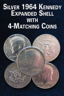 Silver 64' Kennedy Expanded Shell With 4-Matching Coins